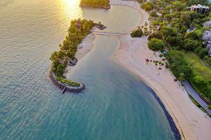 Sentosa beach from the air