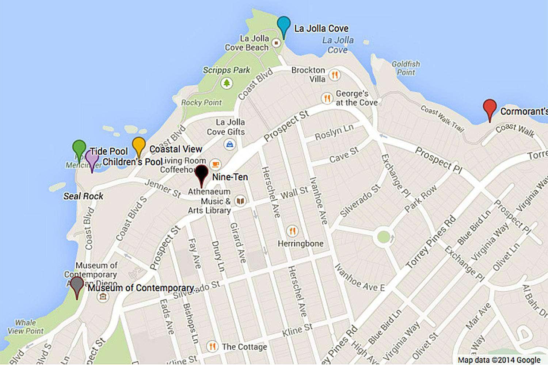 Map of La Jolla Walking Tour Sights