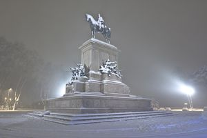 Snowy night view of monument to Giuseppe Garibaldi in Rome, Italy