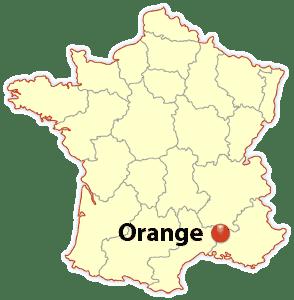 orange france, orange location map