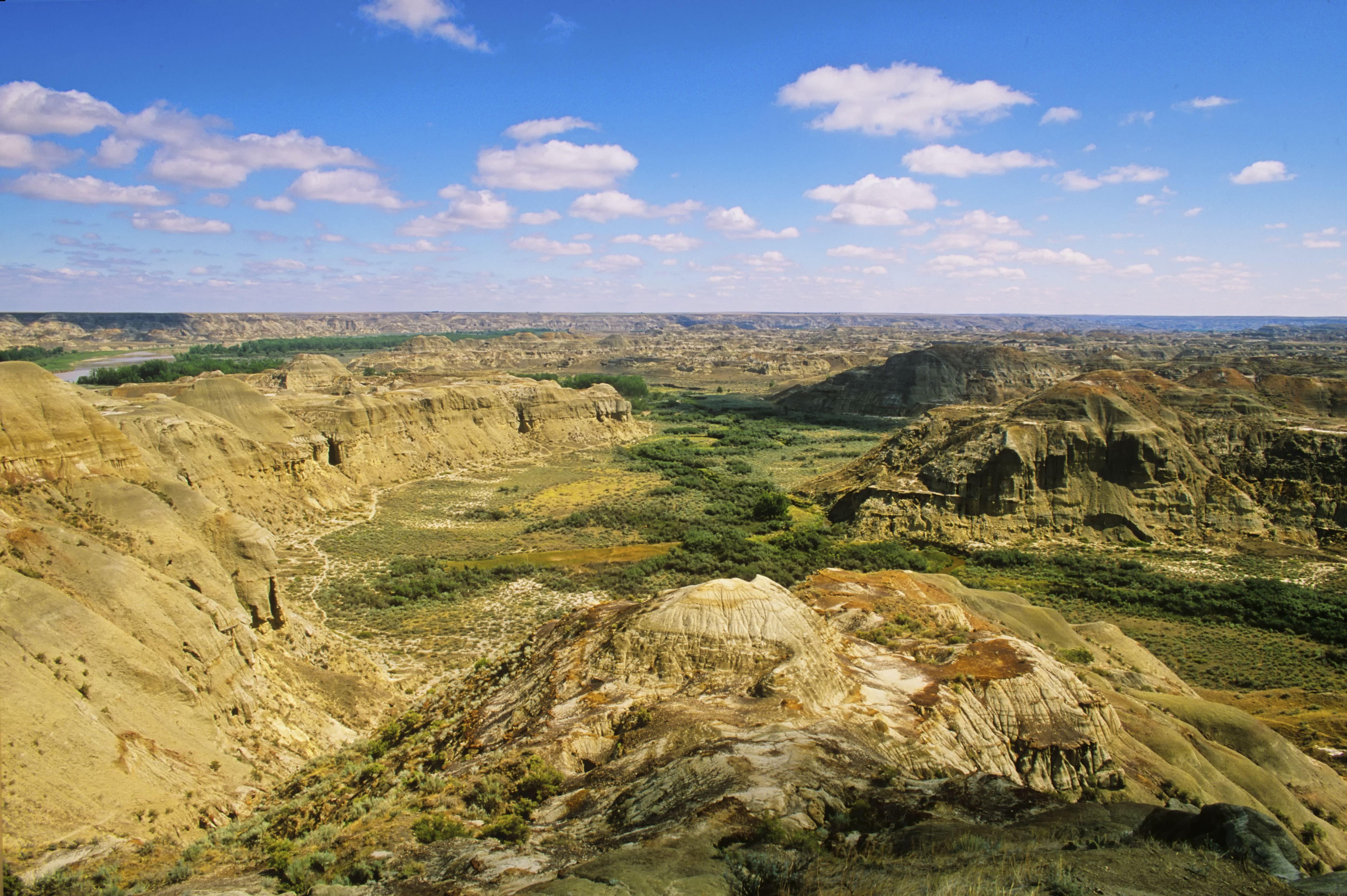 The rugged landscape of Dinosaur Provincial Park, UNESCO World Heritage Site, Alberta, Canada