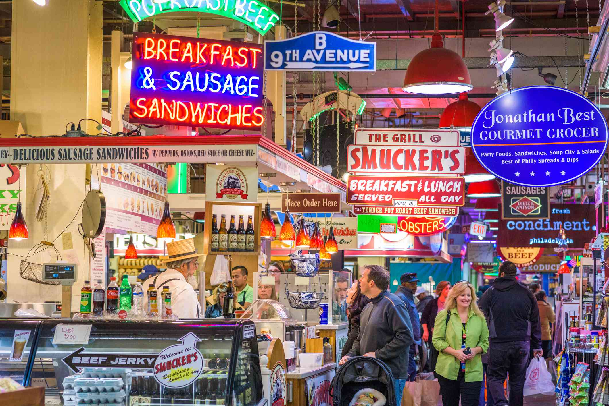 Vendors and customers in Reading Terminal Market