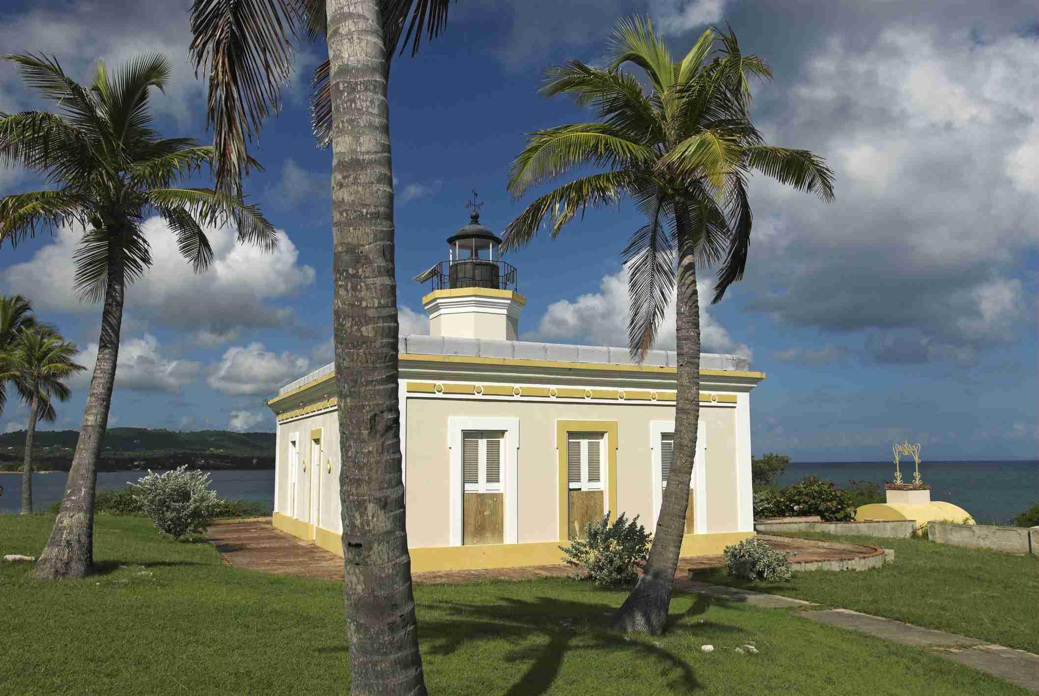 Lighthouse Faro de Punta Mulas in Isabel Segunda, Vieques island, Puerto Rico