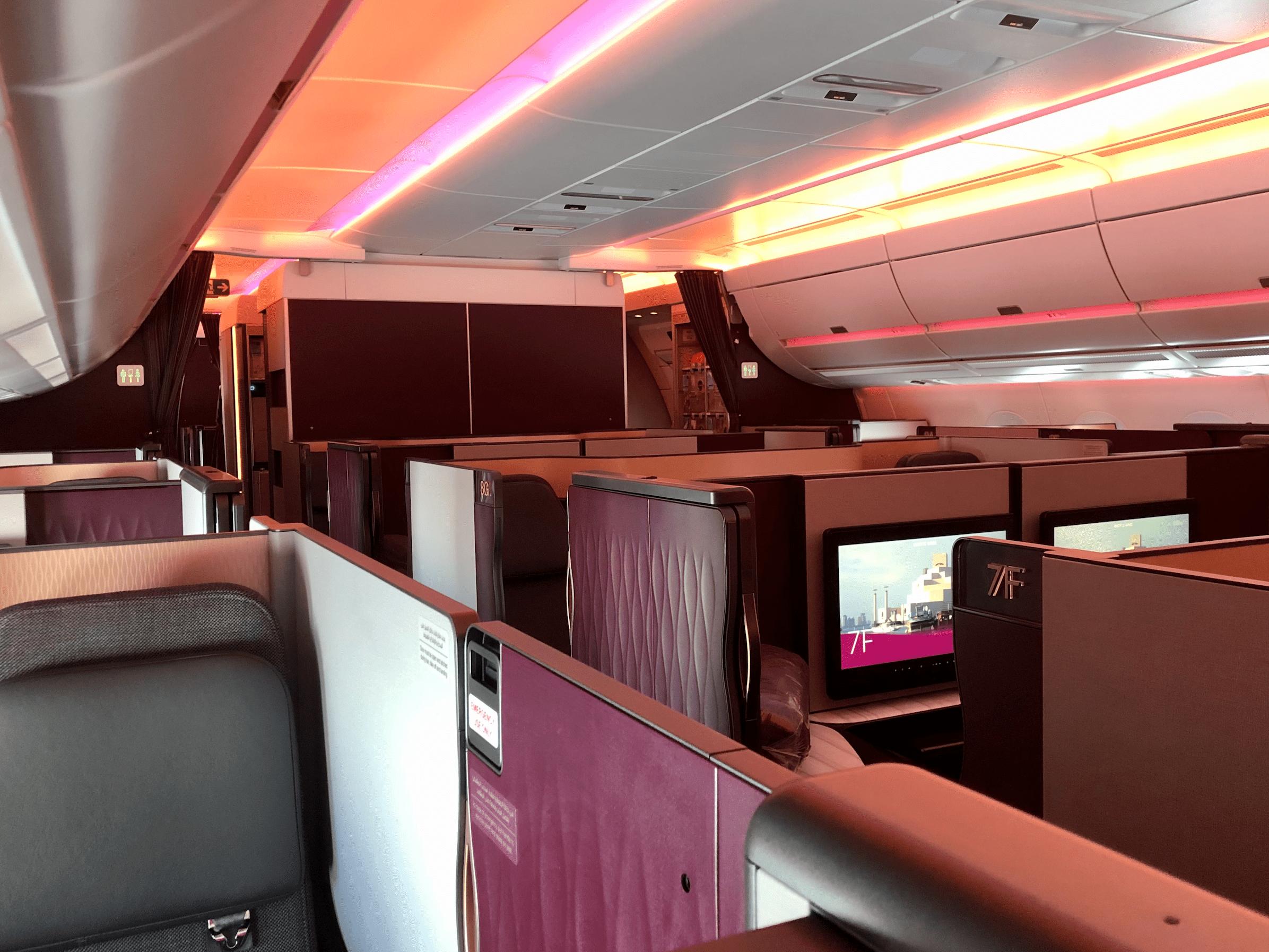 Qatar business class cabin