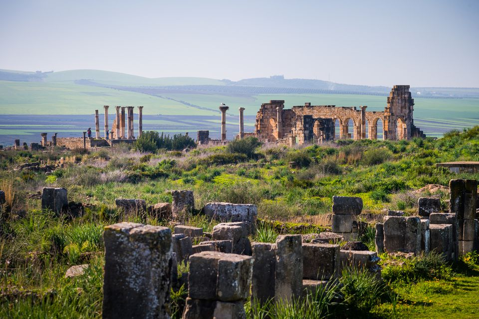 Ruins of the ancient Roman city of Volubilis in Morocco