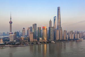 Shanghai Skyline and Huangpu River, with newest skyscraper, Shanghai Tower (2015)