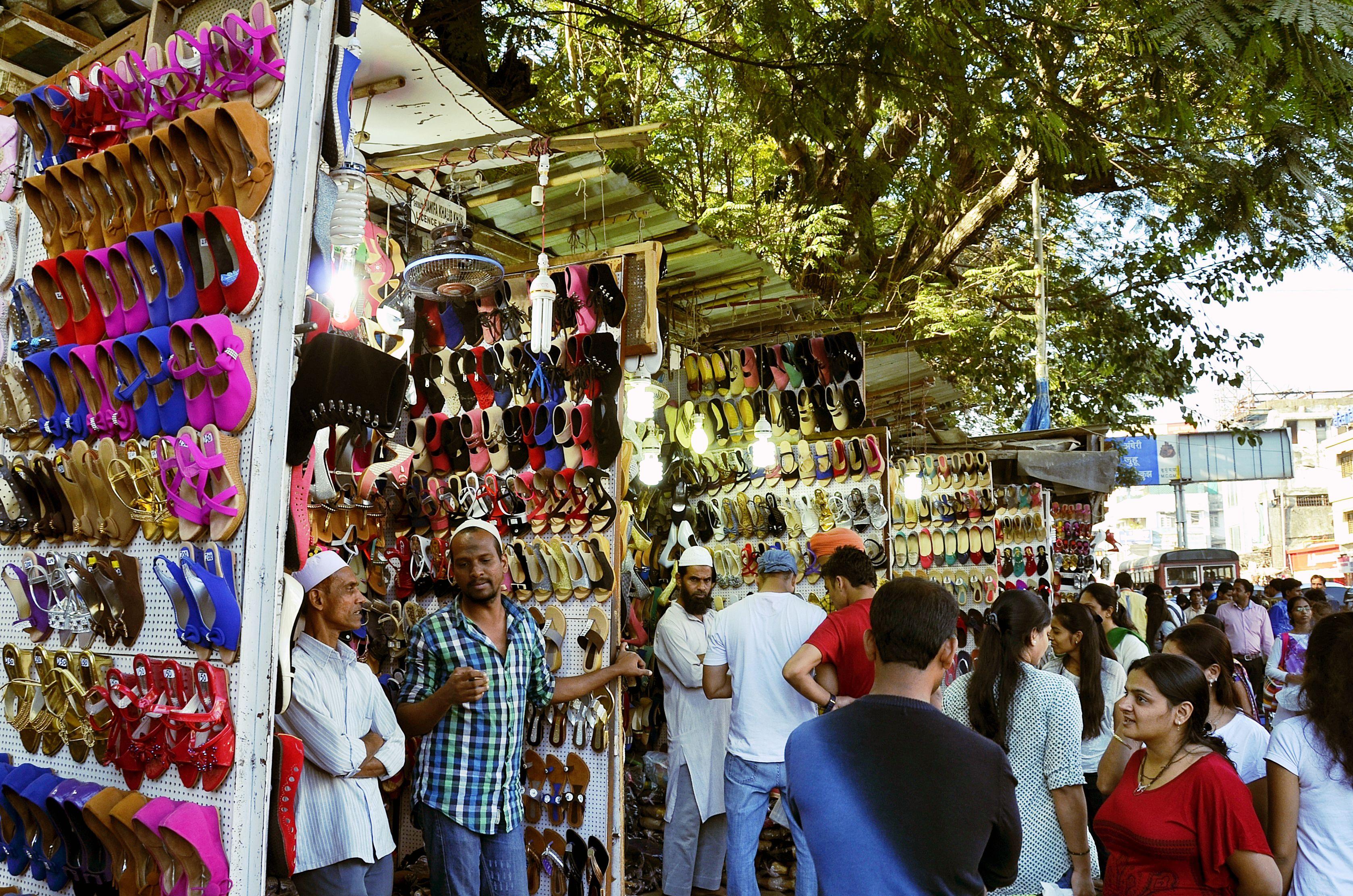vendors selling shoes on Linking Road, Bandra.