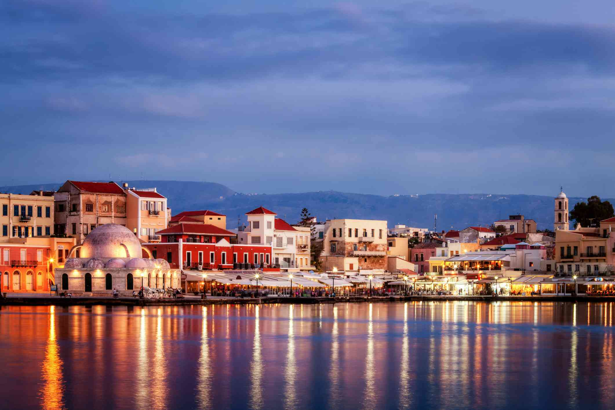The old Mosque at Chania Harbour, Crete, Greece