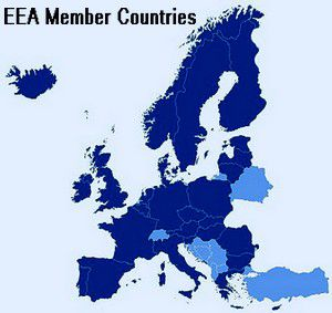 Map Of The Eea Member Countries