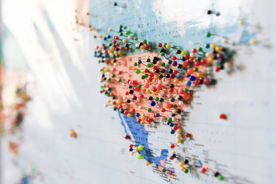 Mapa de EE. UU. Con alfileres