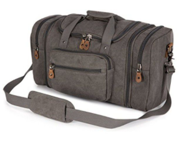 Best Overall  Plambag Unisex s Canvas Duffel Bag Oversized Travel Tote acc4faa86de66