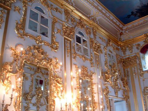 Entryway and Main Staircase of Peterhof, Peter the Great's Summer Palace Near St. Petersburg