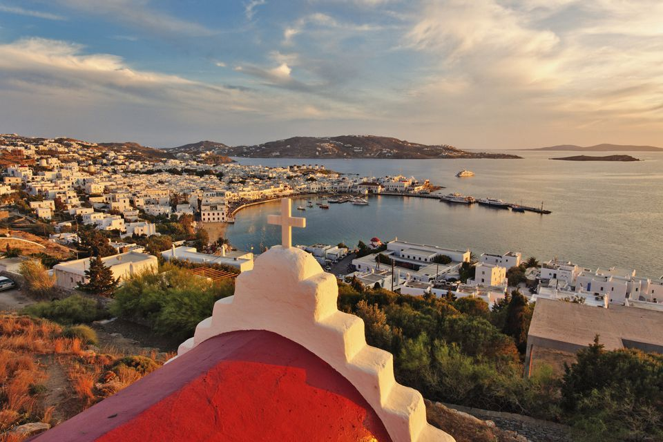 Elevated view of Mykonos Harbor at sunset