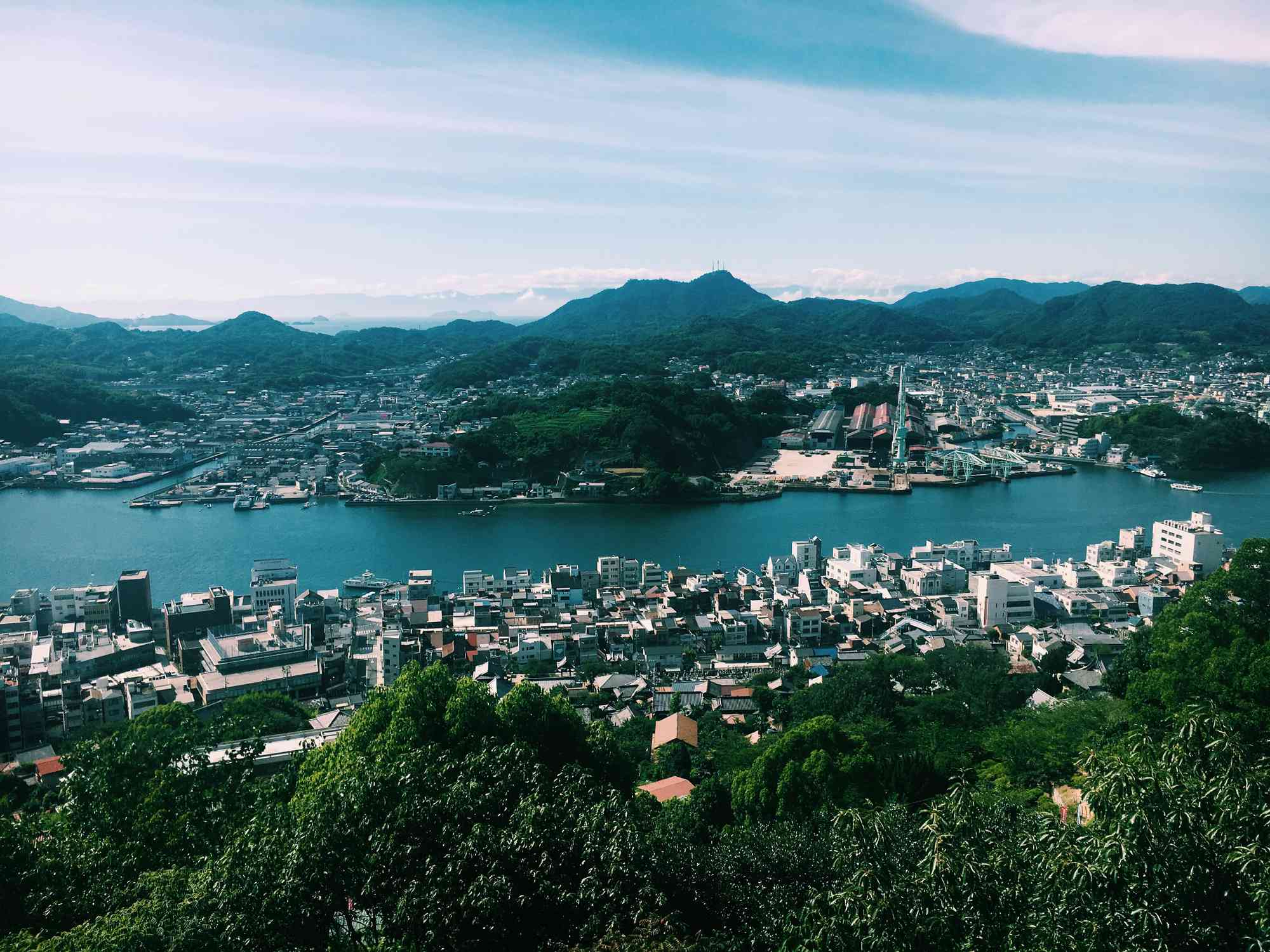 Onomichi city on a river photographed from afar