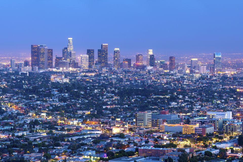 Cityscape of the Los Angeles skyline at dusk, Los Angeles, California, United States of America, North America