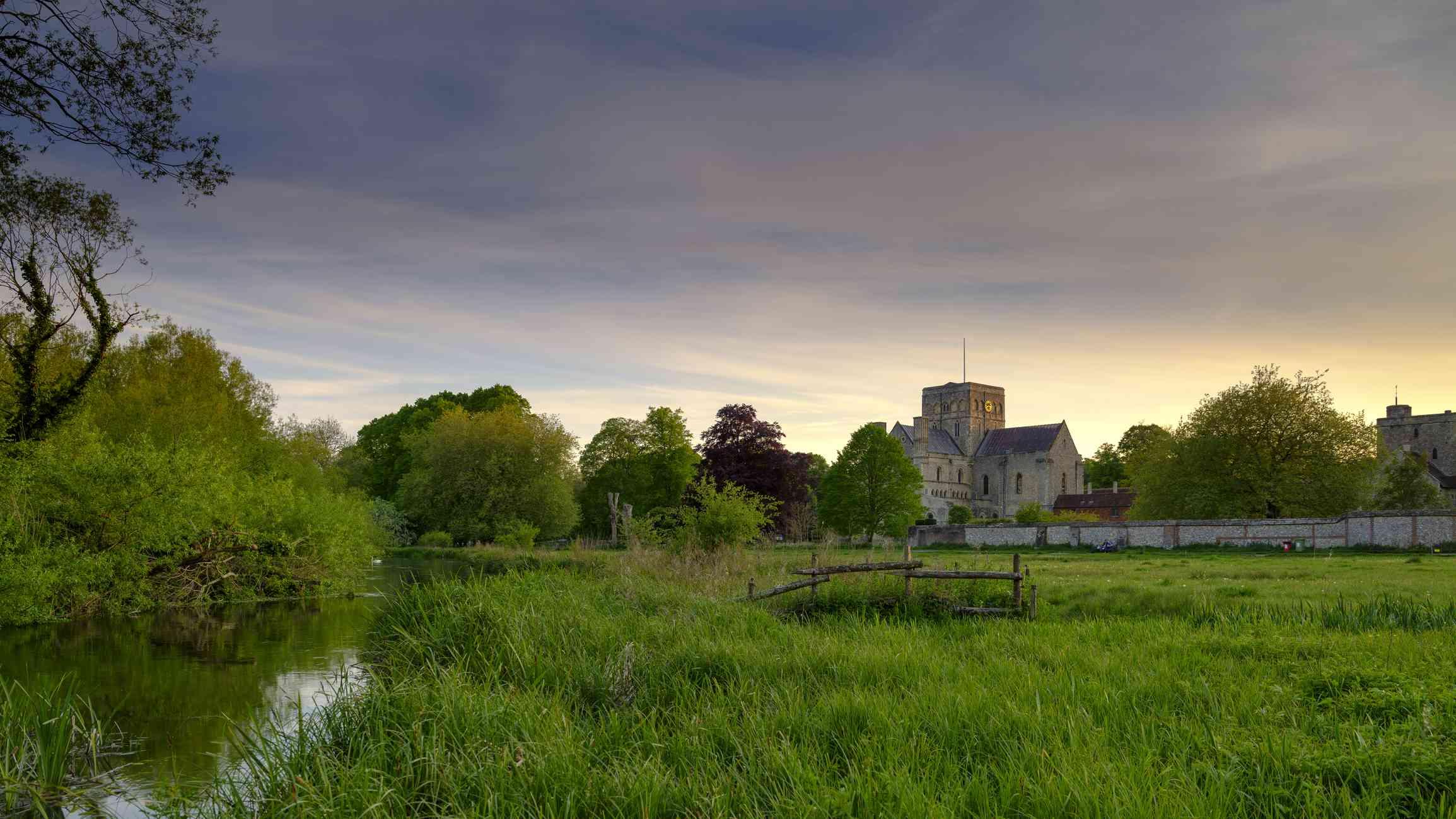 Spring sunset over St Cross Hospital, Winchester, Hampshire, UK