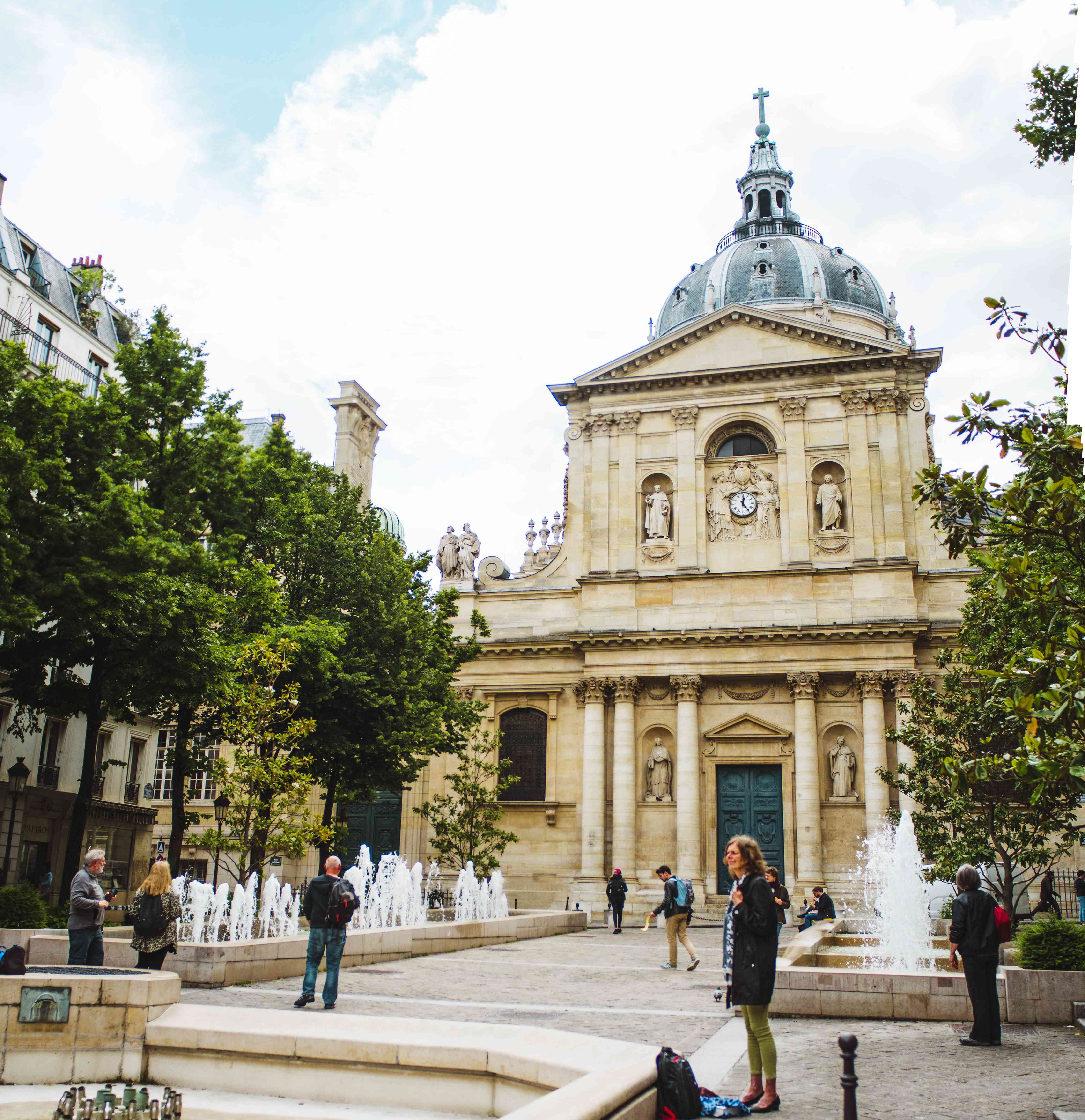 The fountains in front of the Sorbonne University