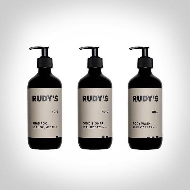 Rudy's Barbershop shampoo, conditioner, and body wash
