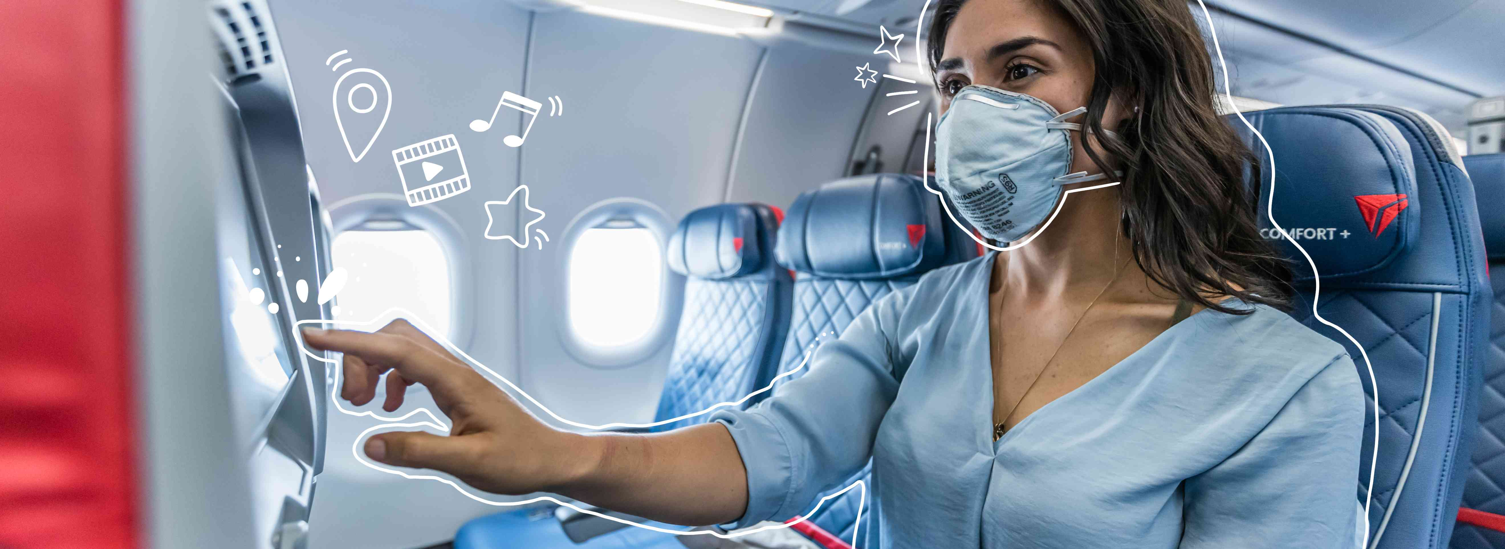 A woman flying Delta with a mask touch the screen. Illustrated white lines al around her.