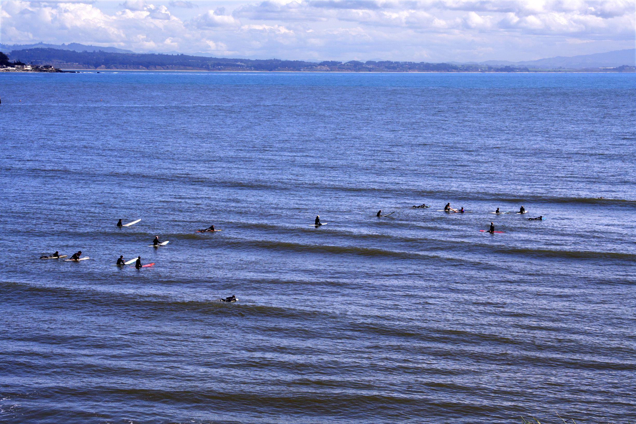 Surfers in Santa Cruz, Calif.