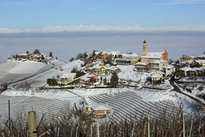 Scenic View Of Barolo Wine Country In The Langhe, Piedmont, Italy