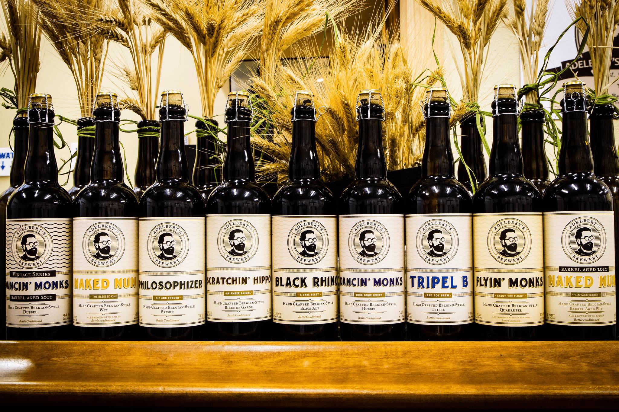 bottled beers at Adelbert's Brewery