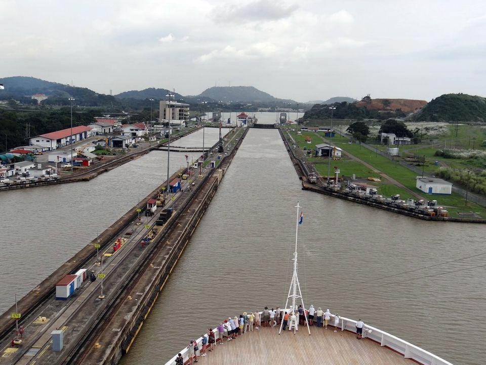 Holland America Veendam passes through Panama Canal lock