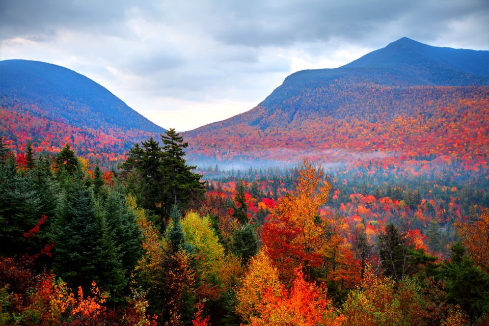 New Hampshire White Mountains in the Fall with red and orange trees