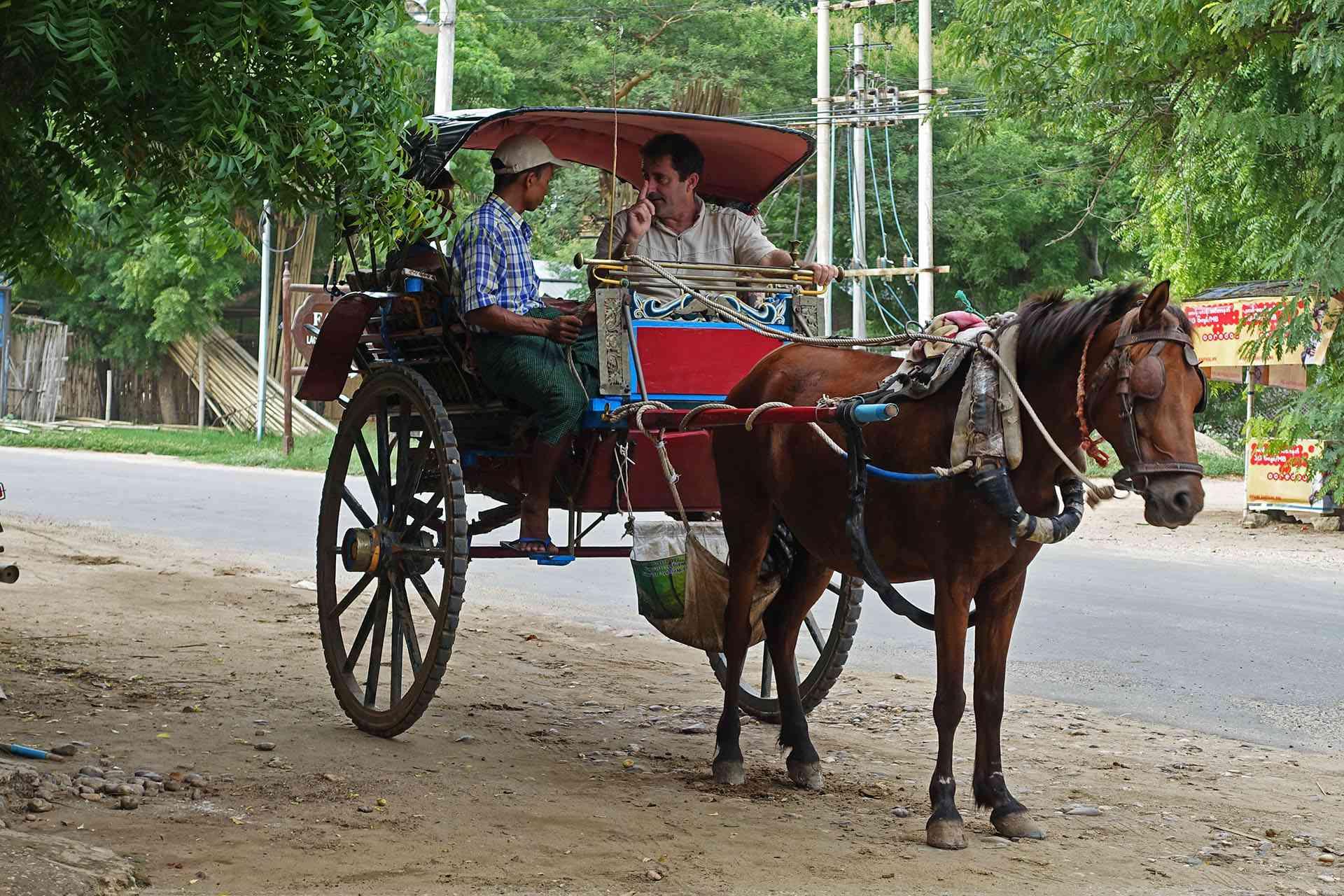 Horse-drawn cart in Bagan