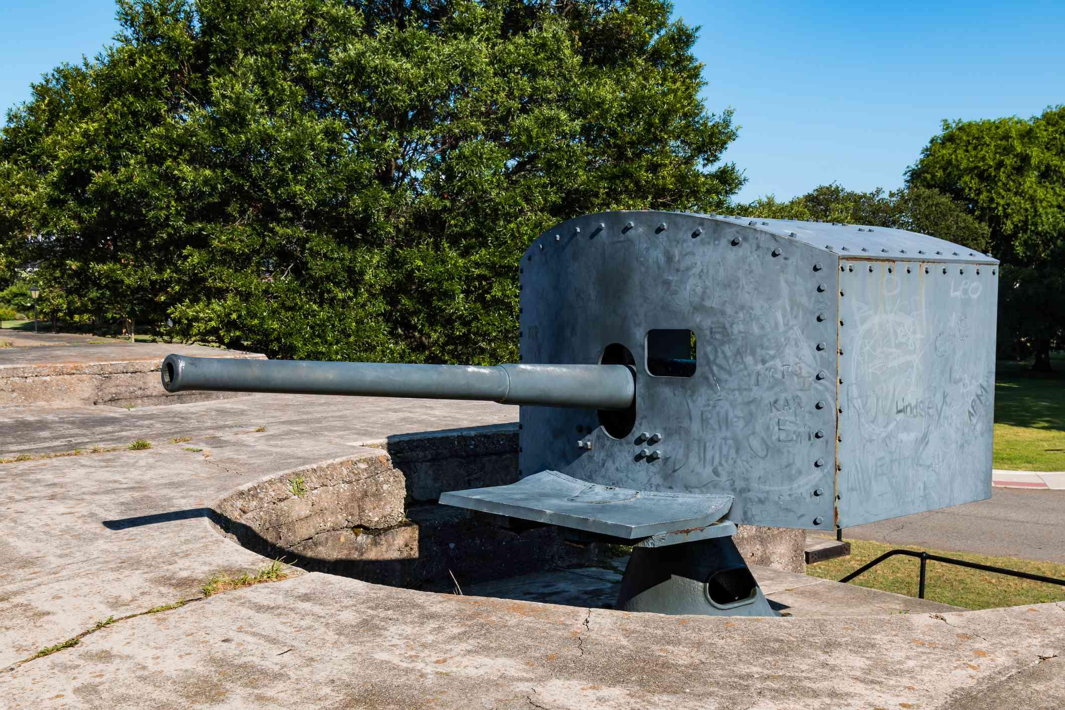 Antique Rapid-Fire Gun at Fort Monroe in Hampton, VA