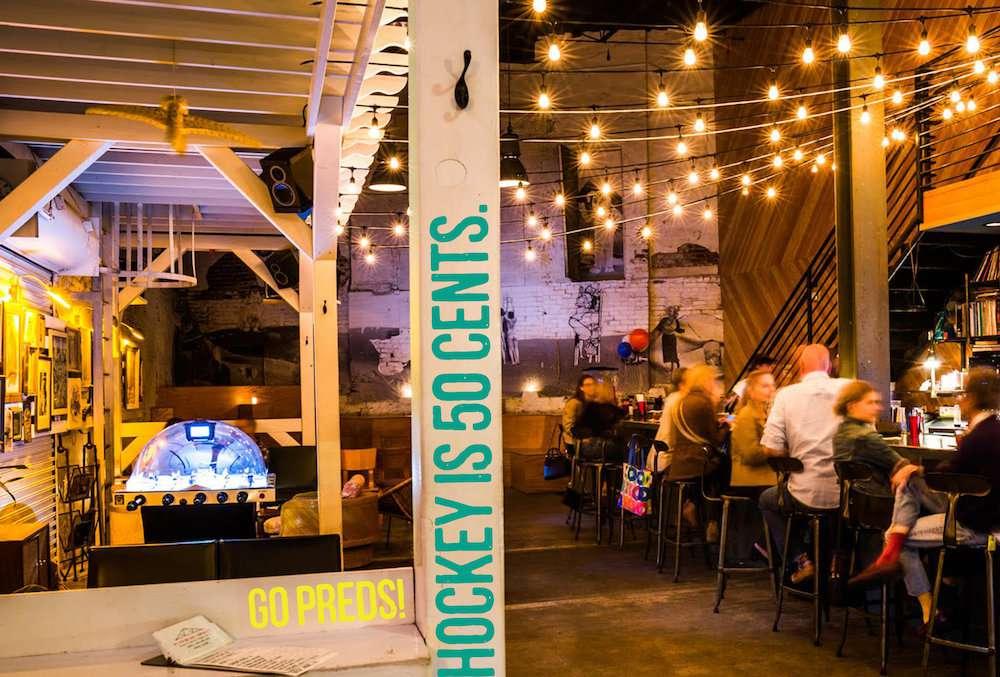 hanging lights inside Nashville bar Bastion.