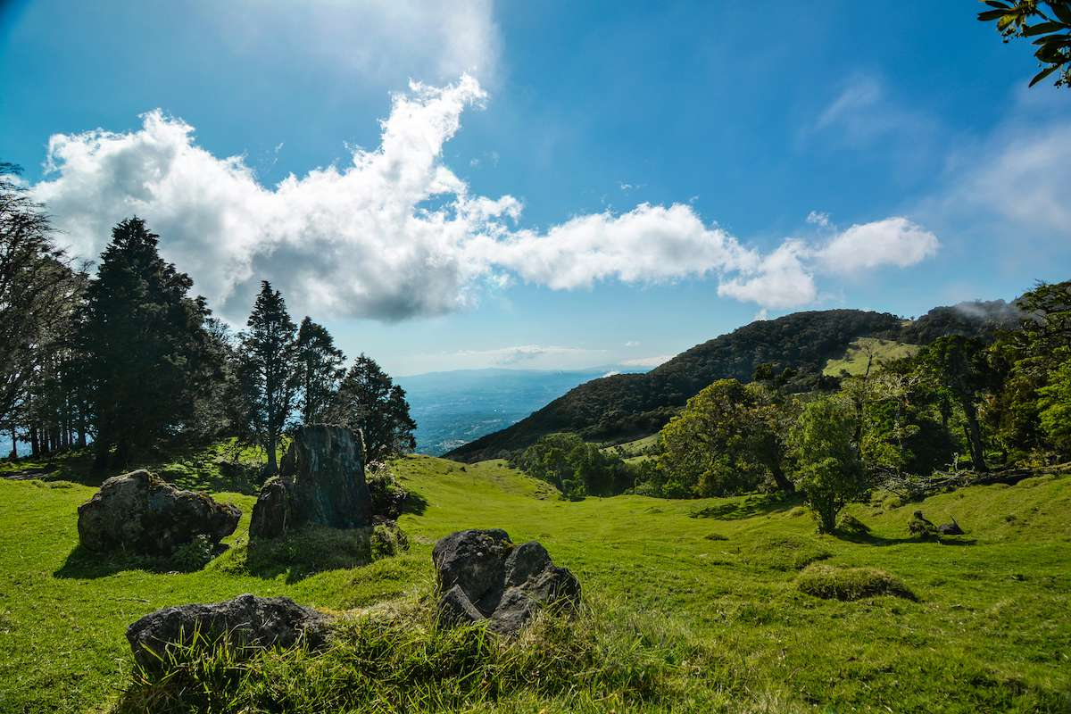Green landscape with a blue sky at Barva Volcano, Costa Rica