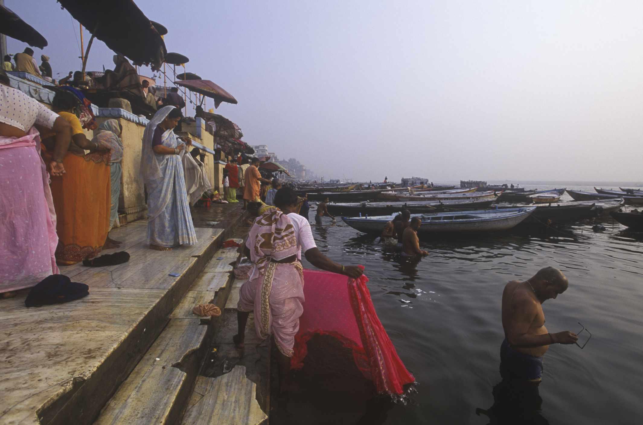 Pilgrims bathing at Assi Ghat
