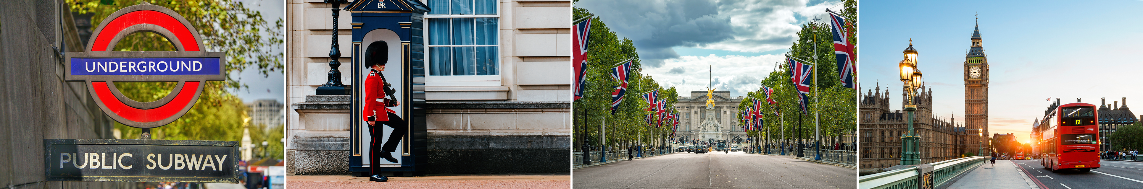 A collage of pictures including the Big Ben clock tower, a picture of a sign for the London Underground subway, one of Buckingham Palace and also one of the guards on duty