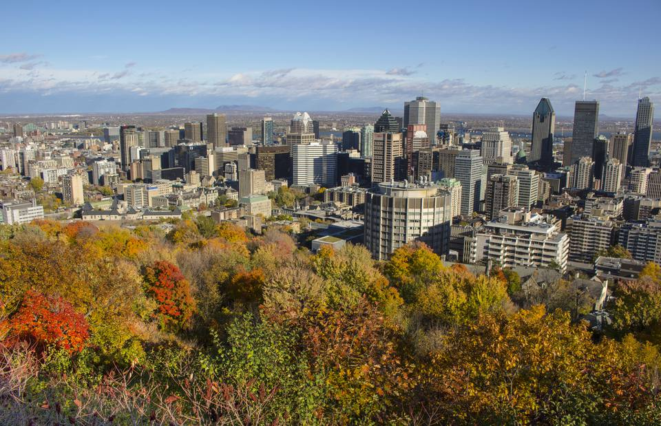 Autumn view of downtown Montreal, Quebec, Canada from Mount Royal