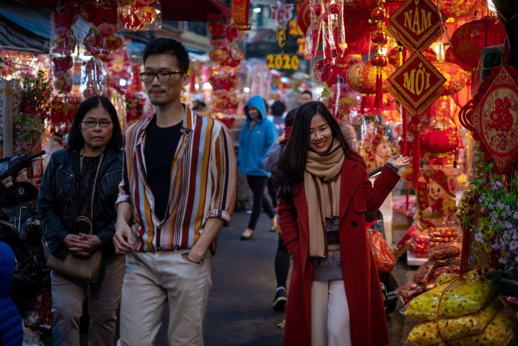 Tet market in Hanoi, Vietnam