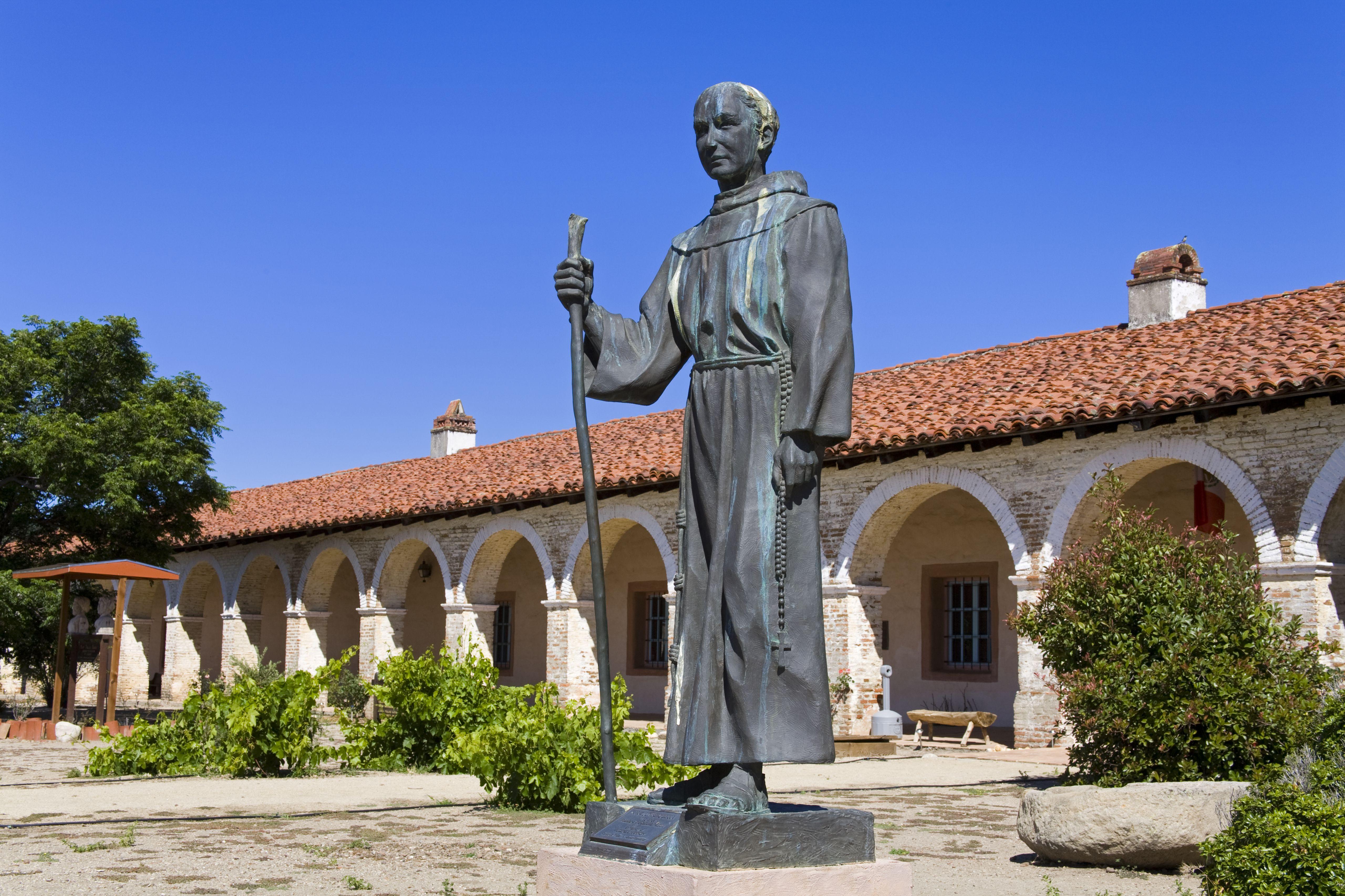 Statue of Father Junipero Serra outside Mission San Antonio