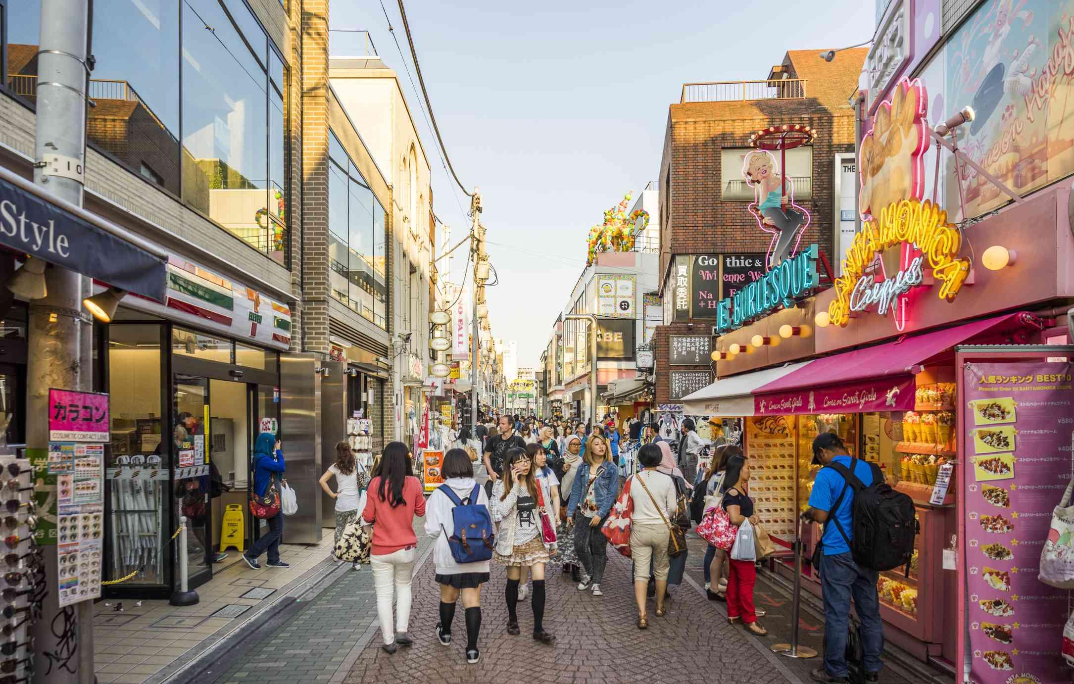 Crowded Takeshita shopping street in Harajuku fashion district