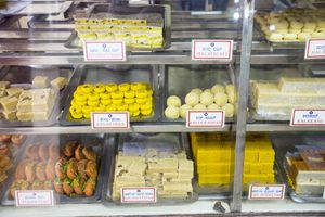 An Indian sweet shop in Mysore, India.