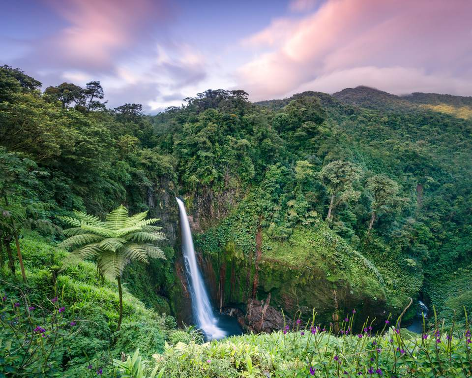 High angle view of Catarata del Toro waterfall at sunset, Costa Rica