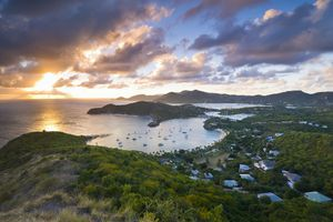 Sunset over the harbor on Antigua