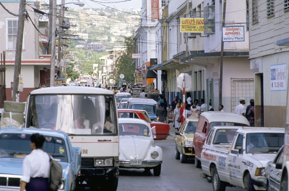 Traffic in town street, Montego Bay, Jamaica