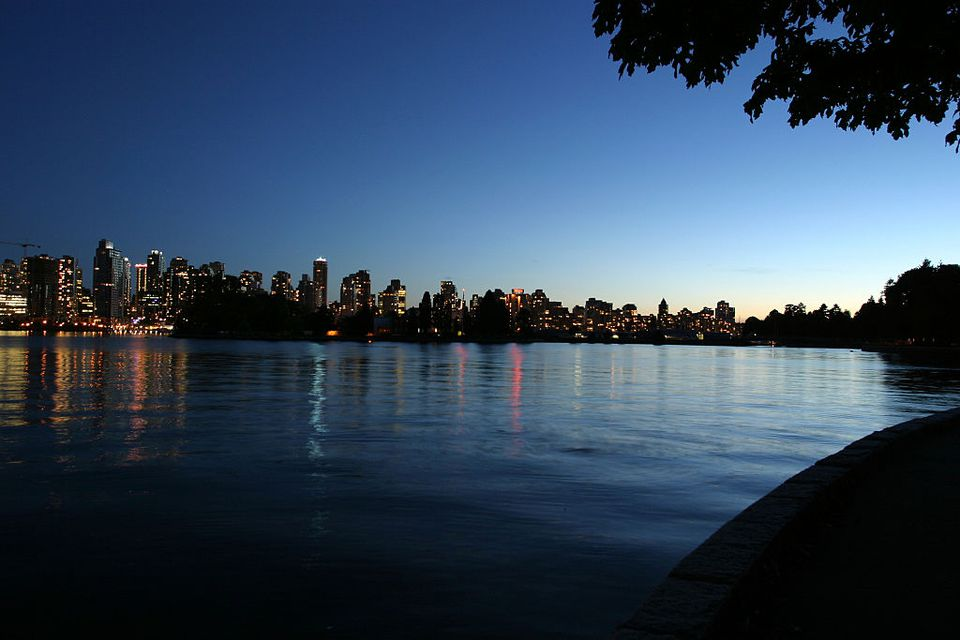 Vancouver night scene from Stanley Park