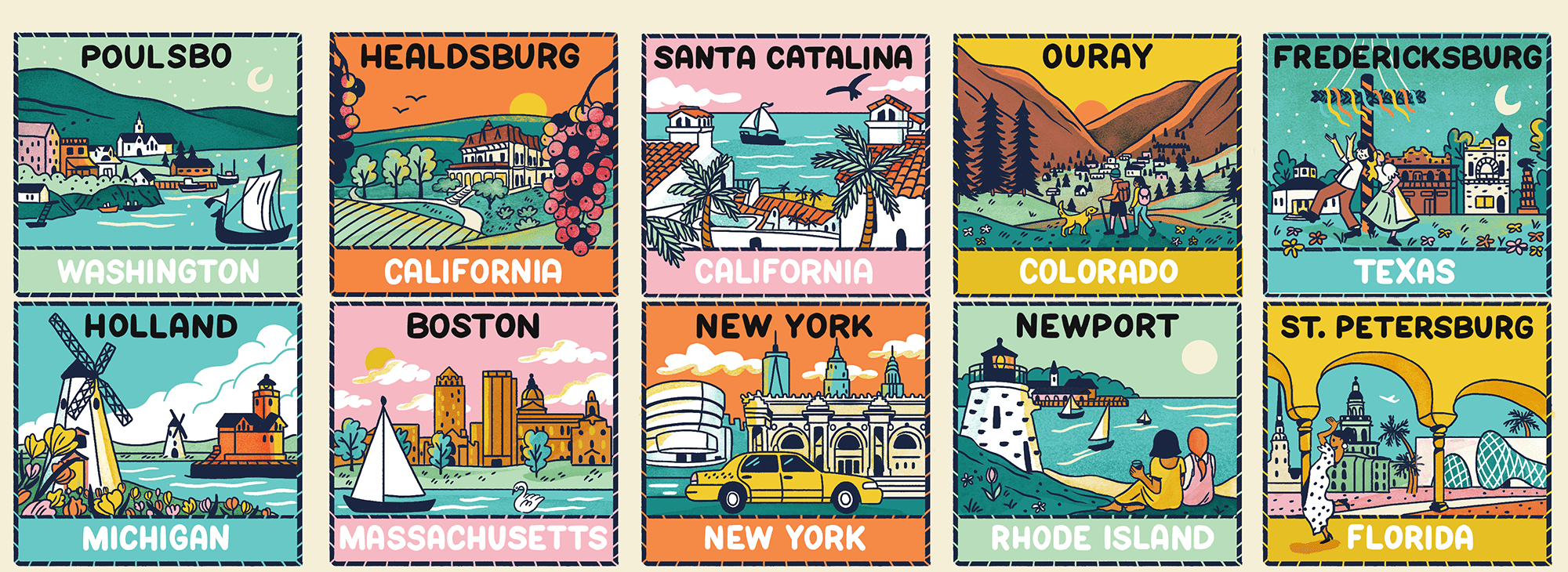 Illustrated collage of cities mentioned in the article