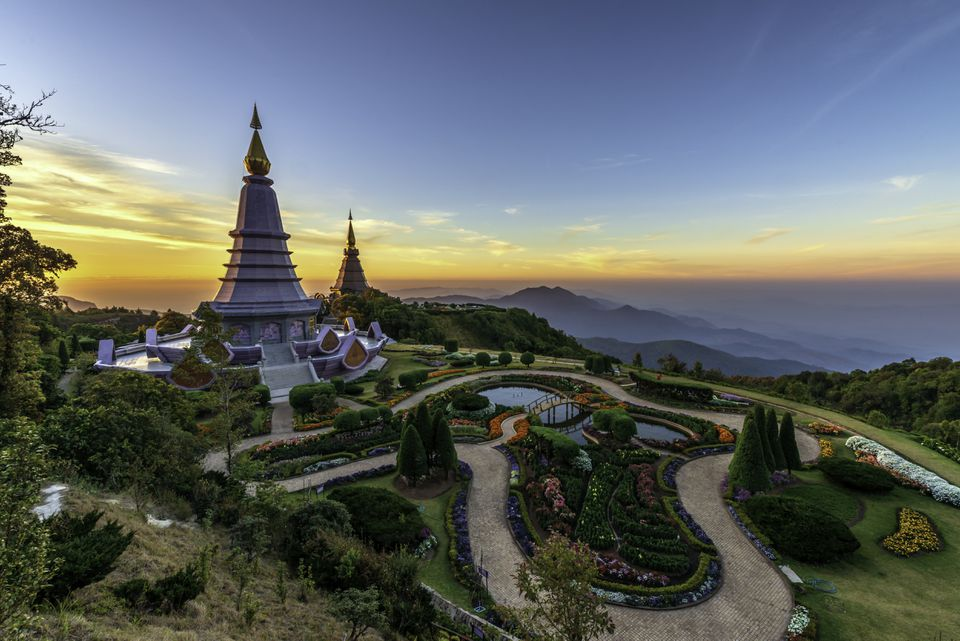 Sunset behind stupas in Doi Inthanon National Park, Thailand
