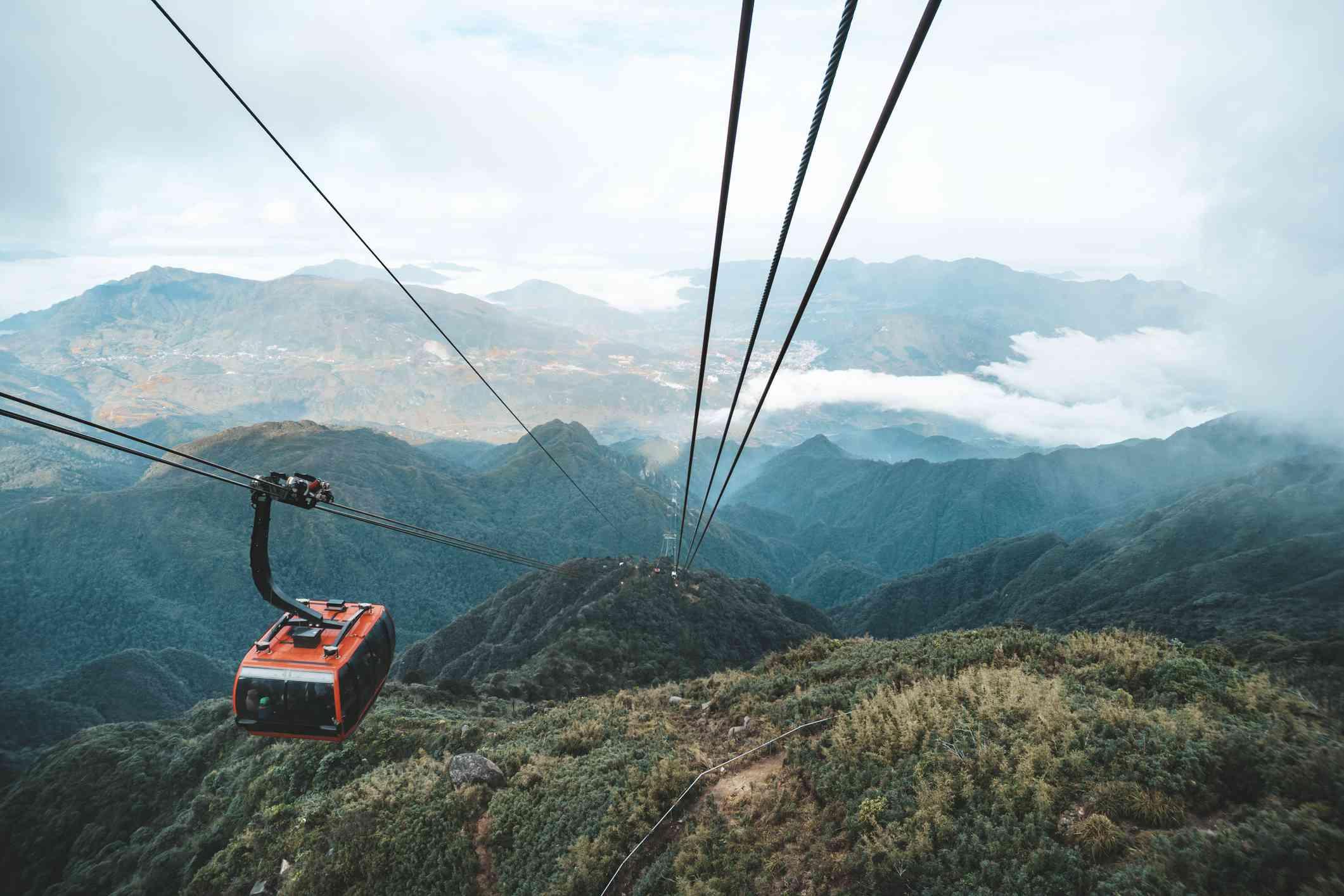 Cable car ascending Fansipan in Sapa, Vietnam