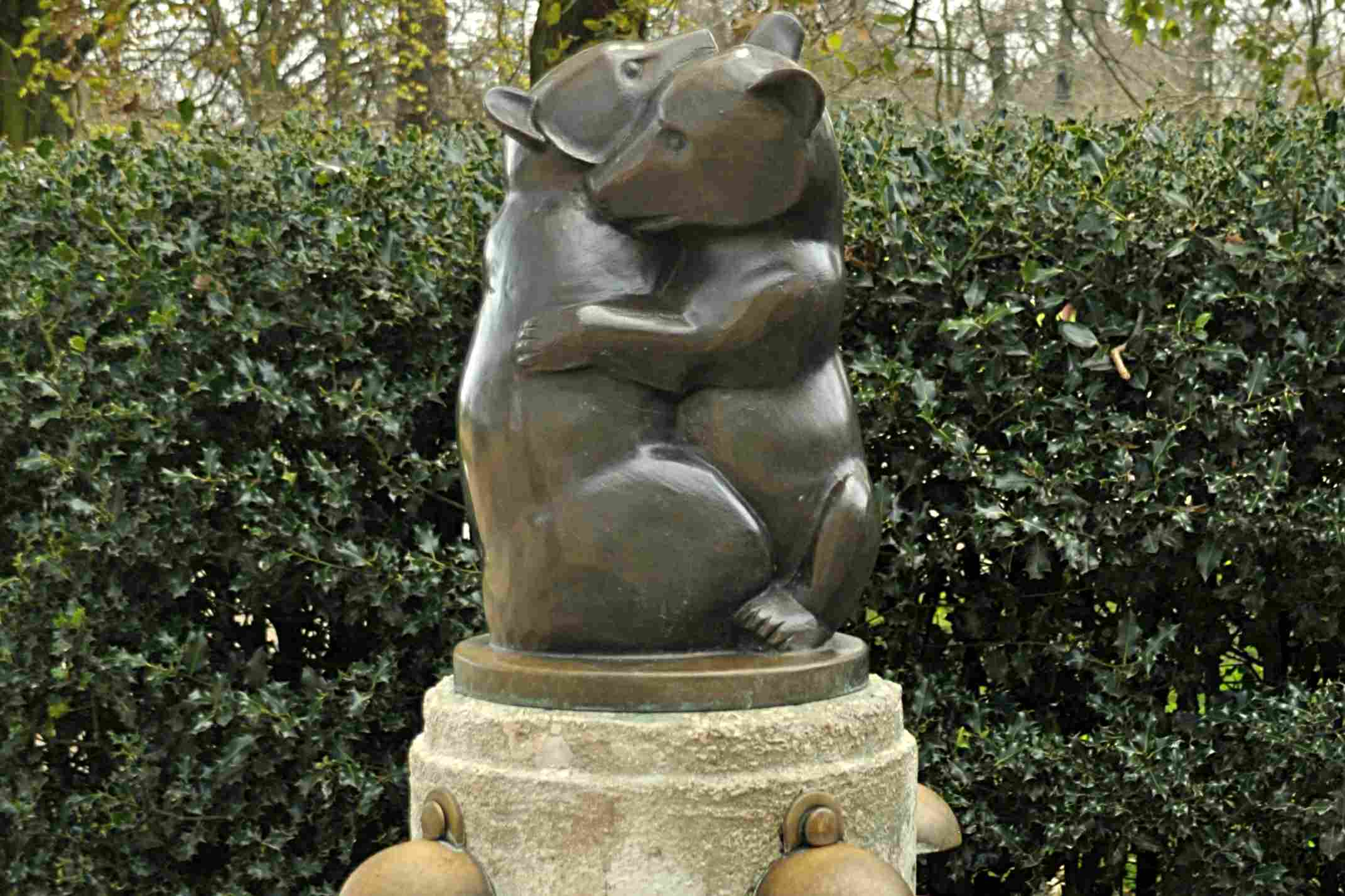 Two Bears drinking fountain