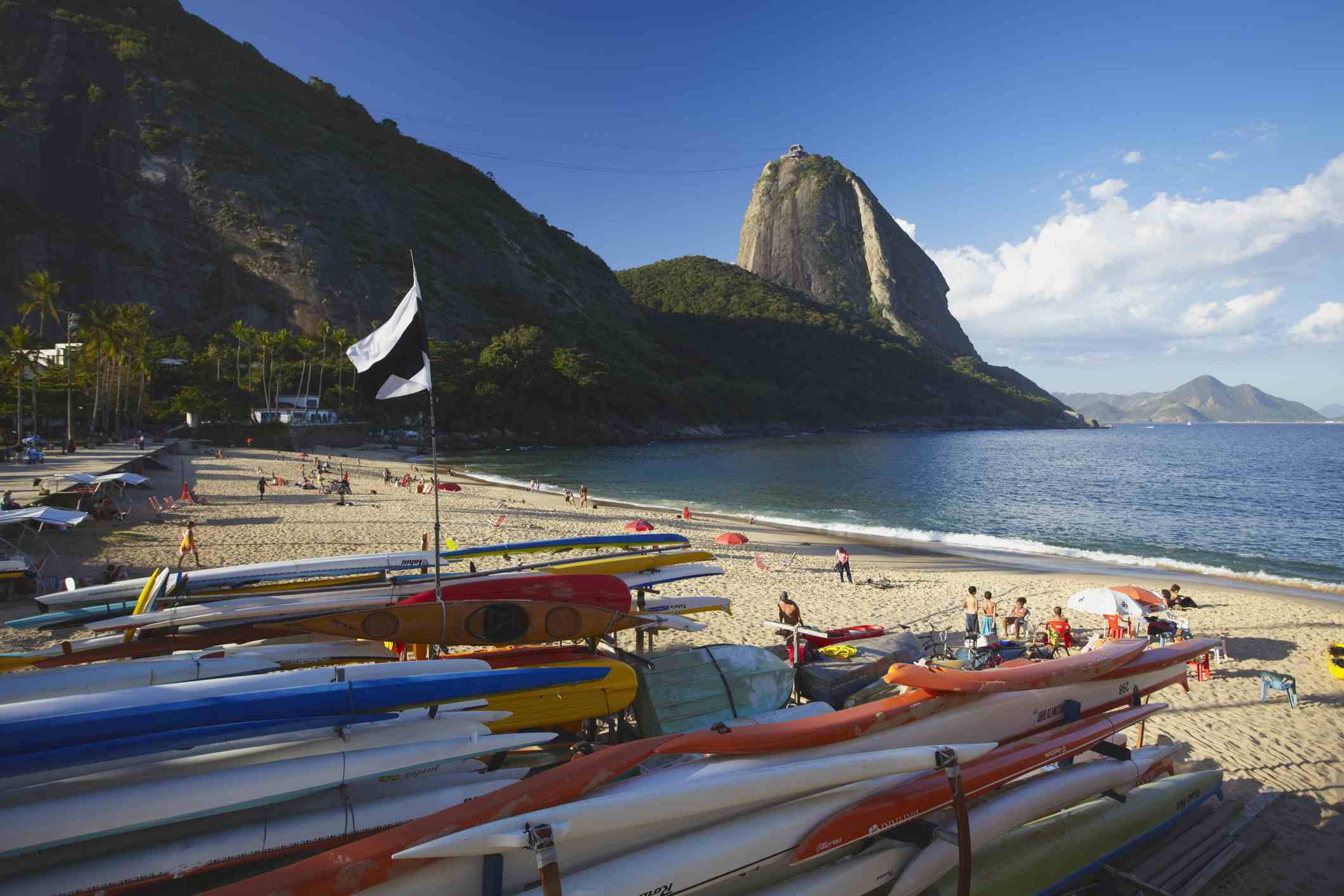 Praia Vermelha with Sugar Loaf Mountain in background, Urca, Rio de Janeiro, Brazil, South America