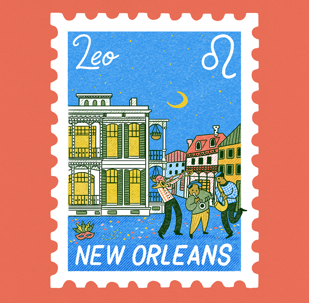 An illustration of a stamp with a scene of New Orleans with classical french inspired architecture and jazz street performers. Leo is written on it.