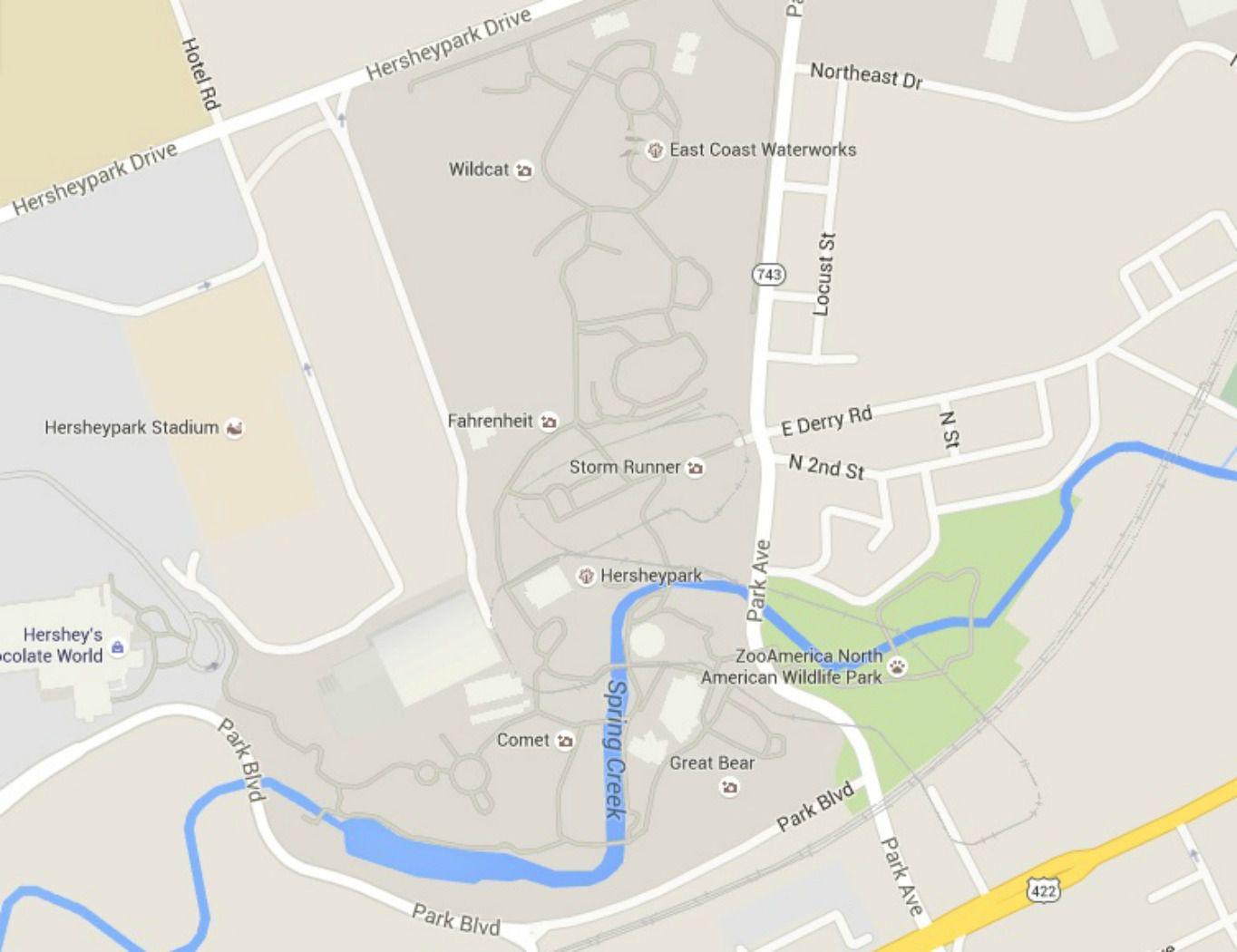 Maps of Hershey and Hersheypark, Pennsylvania